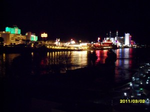 Laughlin, Nevada Night time view of the Colorado River looking at the Casinos from the Bullhead City side