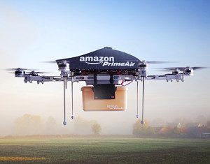 Drones delivering parcels for Amazon